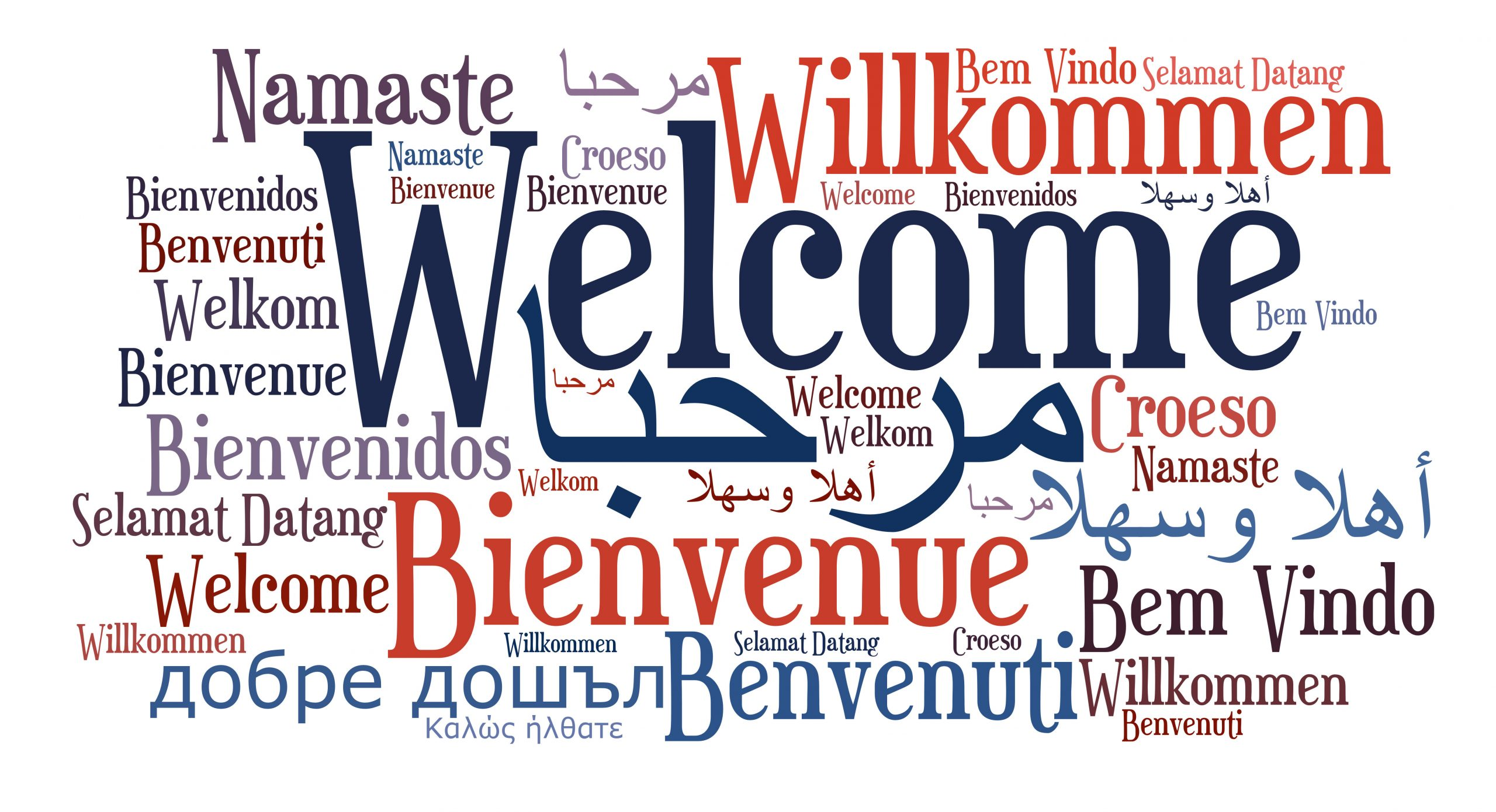 Welcome written in many languages. Words are red and blue on a white background.
