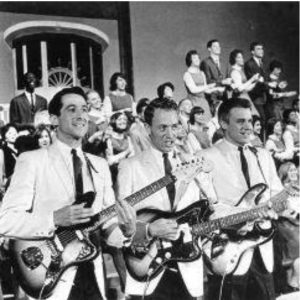 Black and white photo of an early Up with People show.